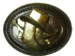 Hat & Boots - 24K Gold & Silver Plated Belt Buckle + display stand. Code AX7